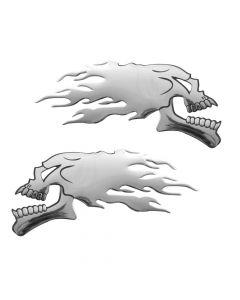 Emblema 3D cromato - 2 Skulls