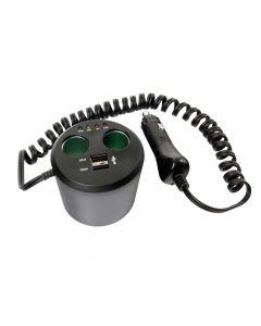 Power Cup 3 in 1, presa corrente multipla e tester batteria auto 12V+USB