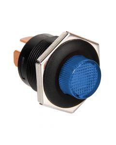 Interruttore a pulsante con spia a Led - 12/24V - Blu