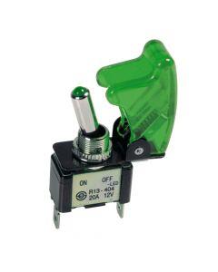 Interruttore a leva con sicura, in alluminio con spia a Led -  12/24V - Verde -   20A