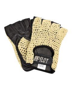 Pilot-1, guanti guida mezze dita - M - Nero